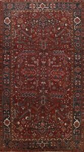 Antique Geometric All-Over Heriz Hand-knotted Area Rug Dining Room Carpet 8'x12'