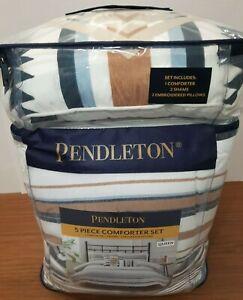 Pendleton 5-piece Comforter Set 2 Embroidered Pillows Savanna Stripe Queen New