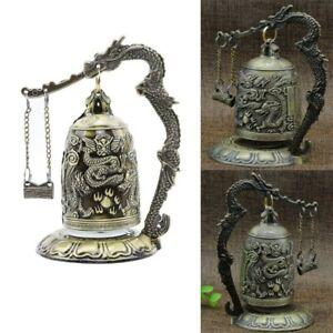 Vintage Brass Bell Carved Dragon Buddhist Buddha's Clock Bronze Good Luck Bell