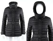 "BURBERRY Brit ""Cornsdale"" Black Hooded Belted Quilted Down Puffer Jacket Coat XS"