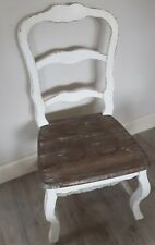 Vintage Shabby Chic Distressed Wooden Traditional Cream Dining Table Chair