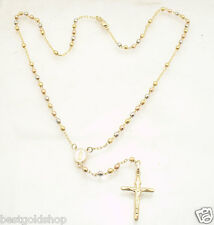 """17"""" 3mm"""" Rosary Chain Medallion Cross Crucifix Necklace Real 10K Tri-Color Gold"""