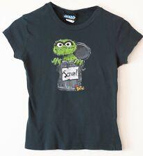 Junk Food Womens Oscar the Grouch T Shirt Black Tee Shirt Size L