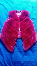 Womens red faux fur fashion jacket gilet