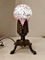 VTG Art Deco Nouveau Arts & Craft 4-Footed Brass Lamp 1930's w/ Art Glass Insert