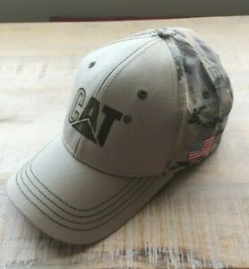 Caterpillar CAT Equipment Digital Camo Camouflage with USA Flag Patch Cap/Hat