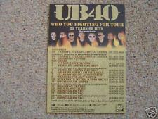 Flyer: UB40 'Who You Fighting For' - Rare 2005 UK Tour