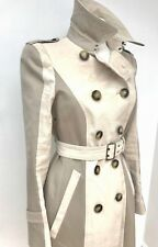 RRP 1700 BURBERRY PRORSUM STONE AND CAPPUCCINO TRENCH COAT UK 10 US 8