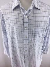 Hart Schaffner Marx Mens XL 17, 34 White checks Long Sleeve Non-Iron H-96