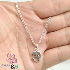 Sterling Silver 925 OM OHM AUM Hindu India Great God Amulet Pendant Necklace