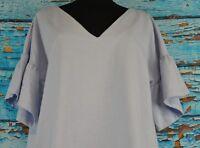 H& M Women's Shirt Dress Size 10 Cotton V-Neck 40 EU NEW Light Blue Short Sleeve