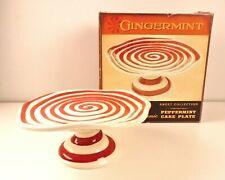 Cracker Barrel Gingermint Ceramic Red White Swirl Peppermint Cake Plate