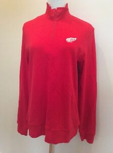 NHL Detroit Red Wings Reebok 1/4 Zip Cotton Pullover Shirt Womens Size M  NEW