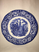 Liberty Blue Staffordshire Ironstone Old North Church Saucer England Cobalt Blue