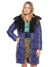 Juicy Couture Navy Puffer Luxurious Fur Collar Designer Winter Coat Size S Small