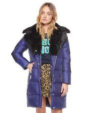 Juicy Couture Bleu Marine Gilet Luxe Col en Fourrure Homme Manteau D'Hiver Taille S Small
