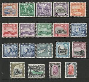 Cyprus 1938-51 Complete set SG 151-163 Mnh.