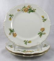 "Vintage Yellow Rose Salad Plates 3 Japan 18001 Scalloped Gold Rim Embossed 7.5"""