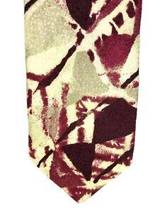 "LUCIANO GATTI Men's Red Patterned 100% Silk 4"" Width 59"" Length"