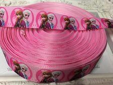 1 Metre Frozen Elsa Anna Print Grosgrain Ribbon Designer 22mm Cakes Bow Dummy