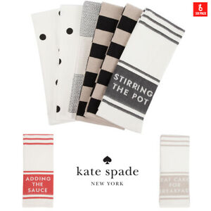 KATE SPADE Kitchen Towels 6 pack 43 cm x 71 cm Set of 6 Dish Cloths Tea Towels
