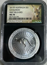 2017 Australia $1 1oz Kangaroo Ngc Ms70 First Releases in black core