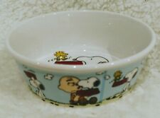 NEW Peanuts Snoopy with Charlie Brown Round Pet Dog Cat Bowl Stoneware Blue