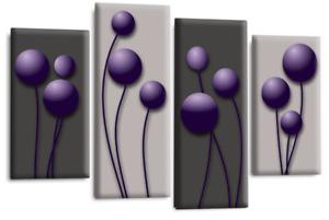 Le Reve Abstract Floral Love Art Purple Grey Black Wall Canvas 4 Split Panel