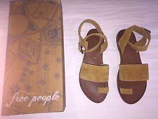Free People Torrence Flat Sandal in Sandlewood, Size 37 - Orig. $68