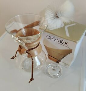 Chemex CHEM6WOOD 6-Cup Wood Neck Coffee Maker, Lid, Brush and Filters