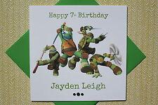 Hecho a mano personalizado de Tortugas Ninja tarjeta de cumpleaños, cualquier edad 3 4 5 6 hijo hija