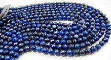 """10 strands Lapis Lazuli Round Faceted Beads Size 6mm 15"""" Strand"""