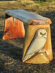 Snow Owl Chainsaw Carving Bench Table  Rustic Cabin Deck Decor Totem Pole