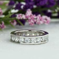 2 Ct Channel Set Real Moissanite Full Eternity Wedding Band 14k White Gold Over