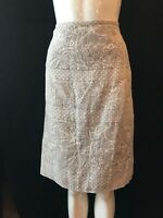 BNWT LAURA ASHLEY Calico Marron 100% Linen Knee Length Skirt UK 16 RRP £65
