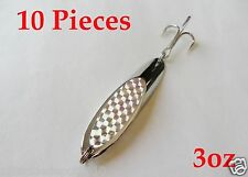 10 Pieces Casting 3oz Kast Spoons Chrome/Silver Saltwater Fishing Lures
