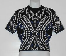 Divided H&M Ladies Short Sleeve Jacquard Knit Top Black Patterned Large (L) NWT