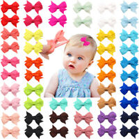 """50Pcs Baby Girls Full Lined Hair Pins Tiny 2"""" Hair Bows Alligator Clips in Pairs"""