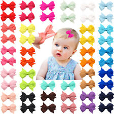 "50Pcs Baby Girls Full Lined Hair Pins Tiny 2"" Hair Bows Alligator Clips in Pairs"