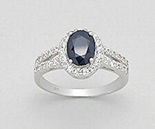 Sterling Silver 3g Blue Sapphire & CZ 11mm Ring Sz7 SPARKLE
