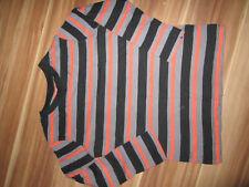 Langarmshirt Pullover gestreift Gr. 128 schwarz grau orange 1-291