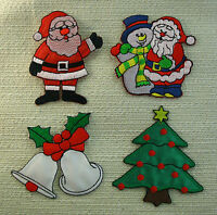 CHRISTMAS Embroidered Iron Sew On Patches 4 Designs Santa Snowman Bells Tree
