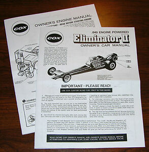 COX .049 ELIMINATOR II OWNERS CAR INSTRUCTION AND 049 ENGINE MANUAL