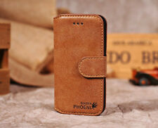 Genuine Leather Credit Card Wallet Slot Stand Flip Cover Case for iPhone Samsung Camel for Galaxy S5 I9600