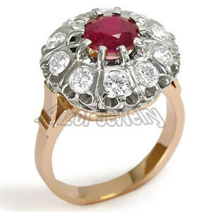 Genuine Ruby and White Sapphire Russian Style Ring 14k Solid Gold #R1478.