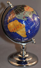 Multi-Gemstone 90mm Desktop Globe in Navy Blue Pearl - Chrome Base Free S&H