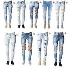 Ladies Womens Stretch Faded Ripped Slim Fit Skinny Denim Jeans Size UK 6 8 12 14