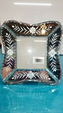 Carr photo frame etched mirror glass Czech style 7 x 7