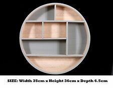 Round Wooden Display Wall Hanging Storage Unit Shelves Cubes Home Decoration