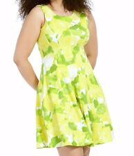Sandra Darren Stretch Jersey Lemon N Lime Printed Fit And Flare Dress Size 24W